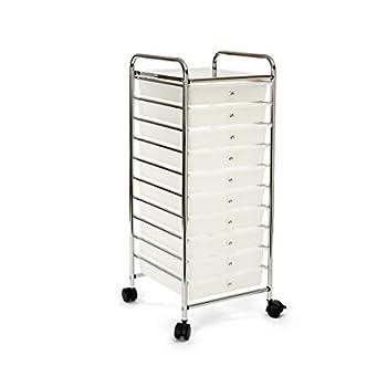 Seville Classics Multipurpose Mobile Rolling Utility Storage Bin Cart on Wheels 10-Drawer Organizer White
