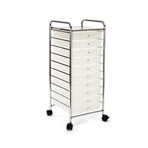 Seville Classics Large 10-Drawer Multipurpose Mobile Rolling Utility Storage Organizer Cart, White