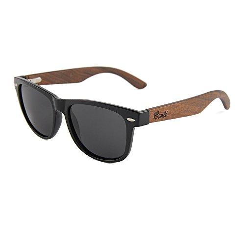 Gafas de sol de madera 100% polarizadas con protección UV Wayfarer unisex, colección brasileña de nogal