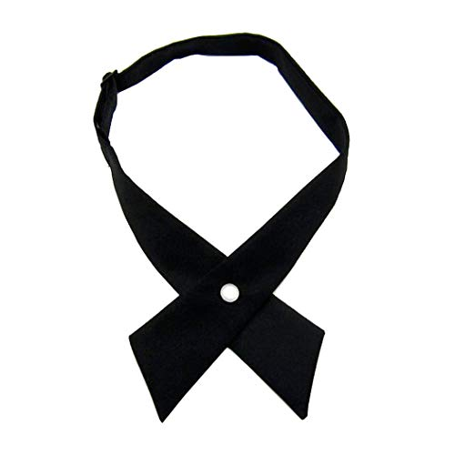 Tie for Men Women Adjustable Criss-Cross Bowtie School Uniform Pre Tied Bows for Girls Neck Tie Accessories PTK03 (Black New)