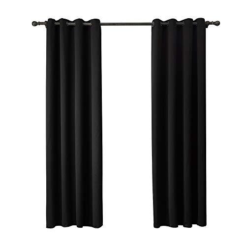 BGROEST-hm Schatten Vorhänge Schwarz Blackout Vorhang, Jalousie - Massiv Thermal Insulated Window Treatment Bügeleisen/Vorhänge for Schlafzimmer (2 Panels) (Farbe : Schwarz, Größe : 140X260cm)