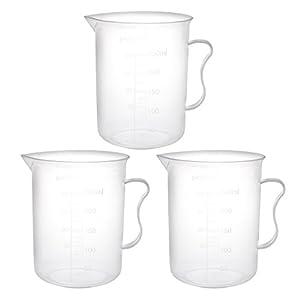 Vaso medidor de PP 300 ml, 1000 ml, 3 unidades Sourcingmap
