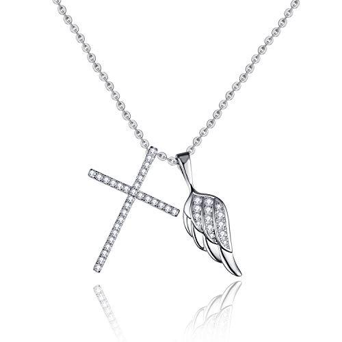 OLIVIASO Colgante de plata de ley 925 chapada en oro de 14 quilates, diseño de alas de ángel, cadena simple para mujer, 45 cm