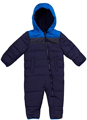 DKNY Baby Boys' Snowsuit Hooded Fully Fleece Lined Onesie Pram with Convertible Mittens, Size 3-6 Months, Navy/Blue'