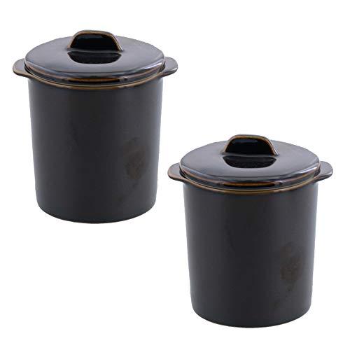 テーブルウェアイースト 茶碗蒸し 和カフェスタイル ジャポネココット蓋付き (アメ) 2個セット カップ ココット 食器セット
