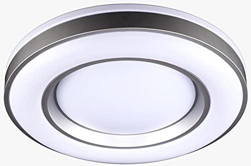BEL AIR HOME - lámpara Plafón Led Serie JUPITER 36W, 50CM Diámetro, Color Plata Con Luz Led Integrada 3000K-4000K-6000K Con Mando a Distancia Incluido