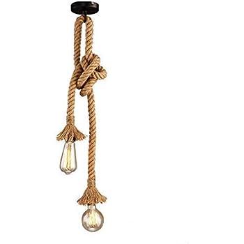 Lustre corde chanvre, Lixada 100CM (50CM+50CM) AC 220V E27