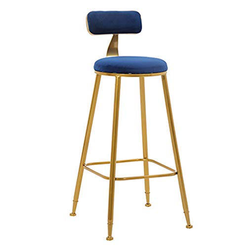 Bar Stools Bar Chairs Gold High Stools Kitchen Chairs Breakfast Counter Chairs with Velvet Covered Backrest and Metal Footrest and Base,Dining Room Furniture - 350 Lbs Capacity