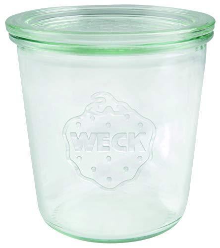 Weck 742 Vasetti 500 ml (Alta qualità, monouso, con Coperchio in Vetro Resistenti al Calore Adatti al Forno a microonde con Bordo Rotondo), Trasparente