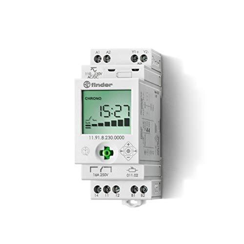 Finder 119182300000PAS Dämmerungsschalter mit Zeitschaltuhr, 230 VAC, Wechsler 16 A, AUX-Ausgang