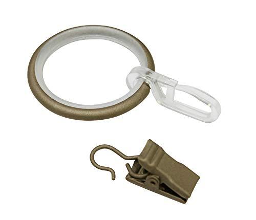 Gardinia Vorhängeringe mit Gleiteinlage, Faltenlegehaken & Klammer, Metall, für Ø 19 mm Cappuccino, 10er Pack, capuccino, 3.9/3 cm, 10