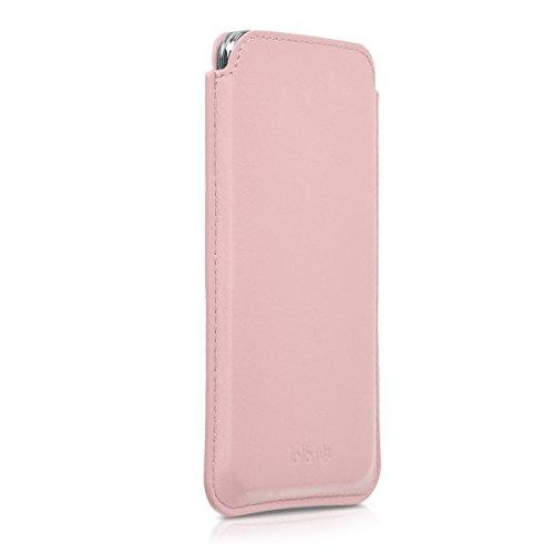kalibri Borsa in pelle custodia compatibile con smartphone L - Cellulare Custodia protettiva Cover Vera pelle in rosa