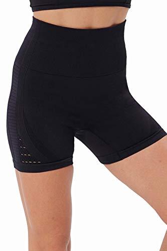 NORMOV pantalones cortos de gimnasio sin costuras de cintura alta para mujer, malla hueca, transpirable, compresión, entrenamiento, yoga, 7,6 cm - Negro - S