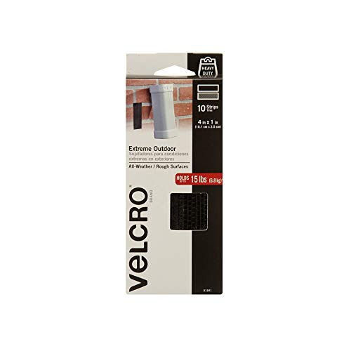 VELCRO Brand Outdoor Heavy Duty Strips | 4 x 1 Inch Pk of 10 | Holds 15 lbs | Black Extreme Hook and Loop Tape Industrial Strength Adhesive | Weather Resistance for Rough Surfaces (91841)