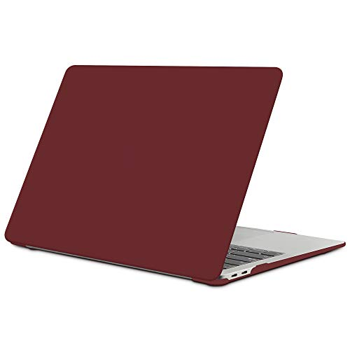 TECOOL MacBook Air 13 inch Case 2018 2019 2020 (Model: A2337 M1 / A2179 / A1932), Slim Plastic Hard Shell Case Cover for New MacBook Air 13.3 Retina with Touch ID - Wine Red