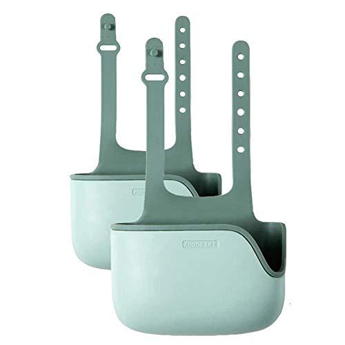Kuinayouyi Soporte de esponja para fregadero de cocina, soporte telescópico de almacenamiento para fregadero, soporte de esponja de silicona para colgar el fregadero (2 unidades), color verde