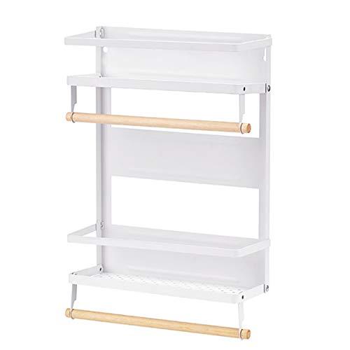 Organizador magnético para especias de un solo nivel, estante de almacenamiento de especias, fácil de instalar, el lado del refrigerador puede contener especias, tarro de aceite de oliva