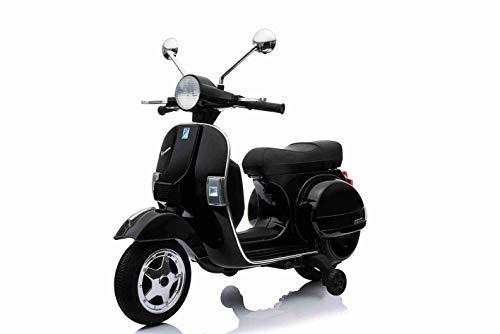 LAMAS TOYS Moto Scooter Elettrico per Bambini Vespa PX 150 12V con Rotelle Sella in Pelle Nero (Nero)