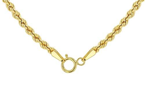 14 Karat / 585 Gold Kordelkette Gelbgold Unisex - 2 mm. Breit - Länge wählbar (50)