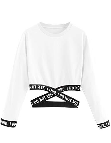 Bauchfreier Pulli Mädchen, Damen Bauchfrei Pullover Brief Drucken Casual Langarm Sweatshirt Kurz Sport Crop Tops Oberteile Sweatjacke Shirts Hemd Bluse (Weiß, S)