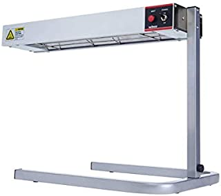 Winco ESH-1, 24L x 6W x 2-1/2H Aluminum 120V~60Hz, 500W, 4.2A Electric Countertop Strip Heater with Stand, Food Warmer, Side Dishes Heater, ETL