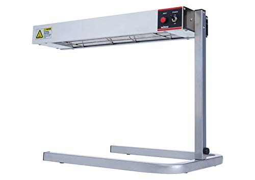 """Winco ESH-1, 24''L x 6""""""""W x 2-1/2""""""""H Aluminum 120V~60Hz, 500W, 4.2A Electric Countertop Strip Heater with Stand, Food Warmer, Side Dishes Heater, ETL"""