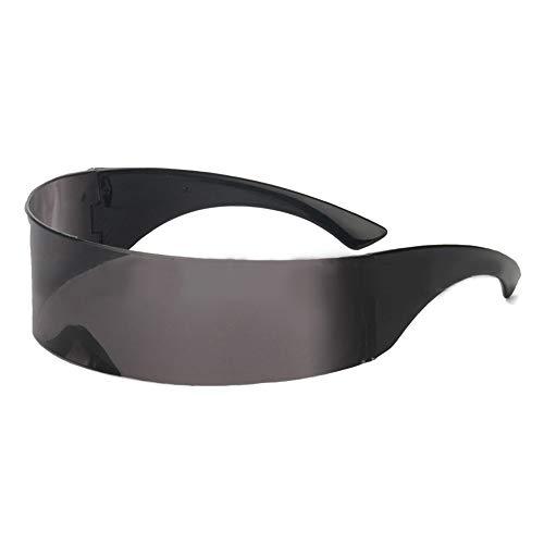 POFET Gafas de sol futurista estrecho de cíclope de color plateado con lentes espejadas
