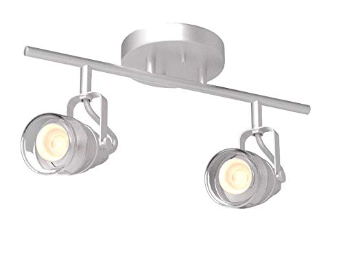 Canarn Brock 2 Light Track Light with Adjustable Heads and Clear Glass - Brushed Nickel - Easy Connect Included