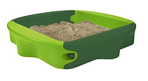 BIG-Sandy mit Hard-Cover - Sandkasten mit bespielbarer Abdeckung, bequeme Sitzfläche, UV-stabilem und wetterfestem Kunststoff, 138 x 138 cm, für Kinder ab 1 Jahr, hellgrün/dunkelgrün