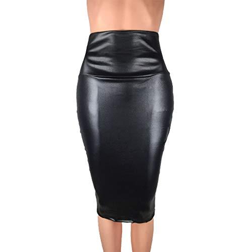 Lenfeshing Falda Tacto Cuero Tubo,Lápiz de Mujer Bodycon Falda de Negocios Hendidura Lateral Dobladillo