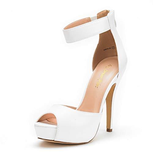 DREAM PAIRS SWAN-05 New Women's Ankle Strap Back Zipper Peep Toe High Heel Platform Pump Shoes,White Pu,8.5 B(M) US