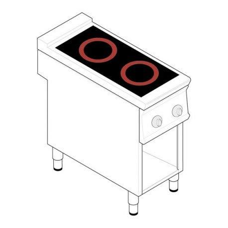 Fourneau sur meuble électrique - 2 plaques vitrocéramiques 6,8 kW - gamme 900 - Tecnoinox