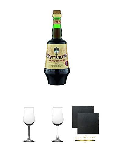 Amaro Montenegro Halbbitter Italien 0,7 Liter + 2 Bugatti Nosing Gläser mit Eichstrich 2cl und 4cl + 2 Schiefer Glasuntersetzer eckig ca. 9,5 cm Ø