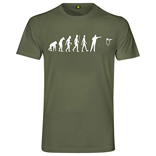 Evolution Bier Pong T-Shirt | Bierpong | Beer | Beerpong | Party | Alkohol Militär Grün XL