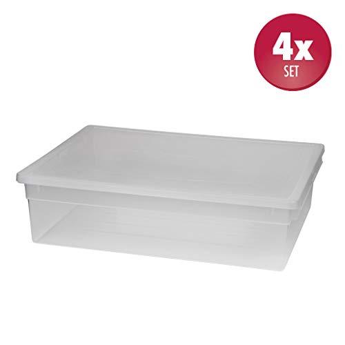 4 Stück XL Aufbewahrungsbox mit Deckel aus transparentem Kunststoff und XL Stauvolumen! Maße: 37,6 x 52 x 13,9 cm