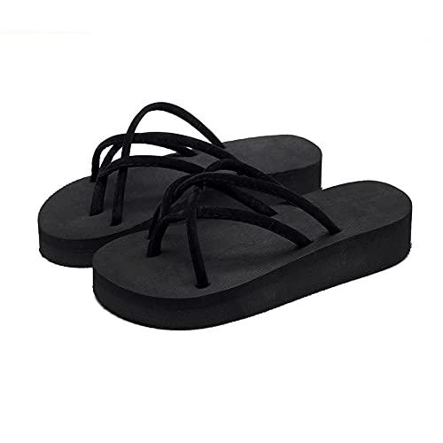 xinghui Chanclas para Mujer Flip Flip Flops Fuera de Las Sandalias de Vestir-Zona Negra_36