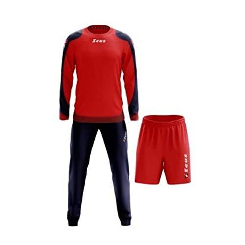 Zeus Herren Sportanzug Trainingsanzüge Running Laufen Training Sport Set Trikot Shirt Shorts Hosen Bermuda TRIS Napoli BLAU ROT (XS)