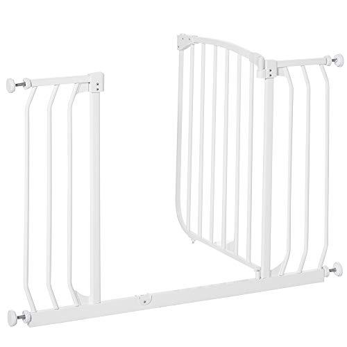 HOMCOM Barrera de Seguridad de Niños para Puertas y Escaleras con Bloqueo 4 Tornillos de Ajuste para Aberturas de 97-108 cm sin Agujeros Metal 96x72,5 cm Blanco