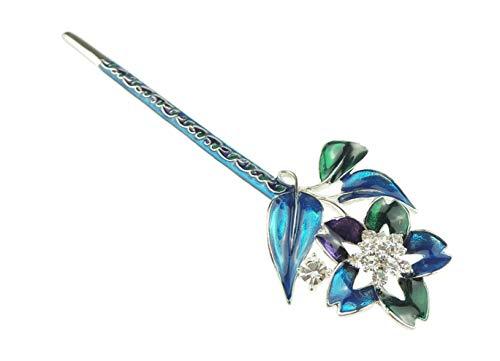 Glamour Girlz - Fermaglio per capelli da donna, smaltato, con cristalli, motivo chignon a forma di stella (viola foglia di ottano)