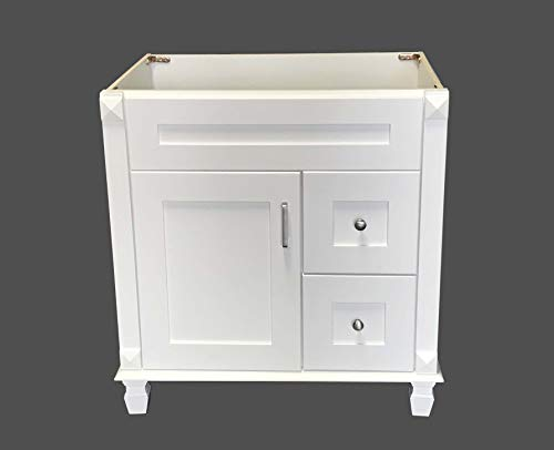 White Shaker Solid Wood Single Bathroom Vanity Base Cabinet 30' W x 21' D x 32' H (Right Drawers)