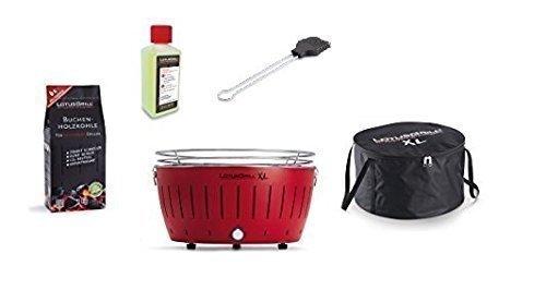 LotusGrill Barbecue XL Kit de démarrage 1x Lotus Barbecue Charbon de Bois de hêtre XL Feu Rouge 1x 1kg, 1x Pâte à Combustible 200ml, 1x Pinceau Gris Anthracite, 1x XL Sacoche