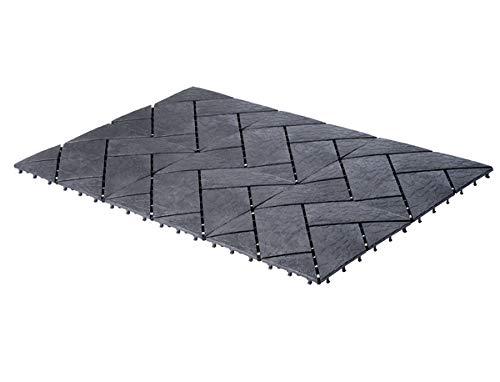 UPP 0722034751283/407 utomhusplattor, klickplattor, 30 x 30 cm, väderbeständig golvbeläggning för balkong, trädgård och terrass, lätt och snabb att lägga [6 stycken, skiffer], 6 Teile