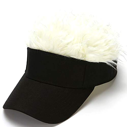 Jlong Novelty Hair Sun Visor Cap Adjustable Unisex Baseball Hat Funny Fake Wig Peaked Golf Hats with Spiked Hair White