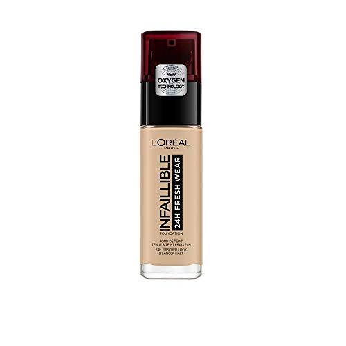 L'Oréal Paris Make-up designer Infalible 24H Fresh Wear Base de Maquillaje de Larga Duración - Tono 125 Naturel Rose, 30 ml