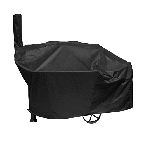 Unicook Charcoal Grill Offset Smoker Cover, Outdoor Heavy Duty Waterproof Smokestack BBQ Grill Cover, Fade and UV Resistant Material, Fits Brinkmann Trailmaster, Char-Broil Smokers and More