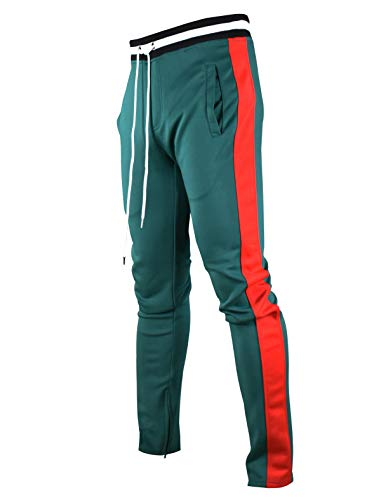 SCREENSHOTBRAND-S41700 Mens Hip Hop Premium Slim Fit Track Pants - Athletic Jogger Bottom with Side Taping-Green-Large