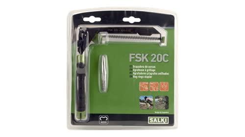 Grapadora Cercas FSK20 con Cargador SALKI - Alicates para Vallas con Cortador de Alambre Incorporado de hasta 3mm de Espesor, Compatible con Grapas Anilladas Ω20 y HR22