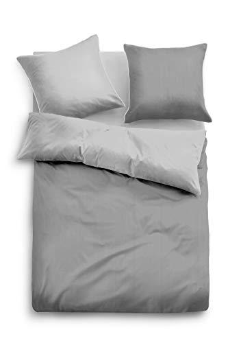 TOM TAILOR 0069940 Bettwäsche Garnitur mit Kopfkissenbezug Baumwoll-Satin Fine Stripes 1x 135x200 cm + 1x 80x80 cm grey