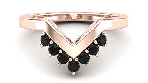 Gemshiner Wishbone V Shape Black Spinel Stacker Ring in Rhodium Plated 925 Sterling Silver (Rose Gold Plating)