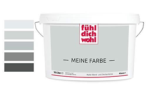 Fühl Dich Wohl Meine Farbe grau, matte Wandfarbe grau, hohe Deckkraft, verschiedene Grautöne zur Auswahl (2,5L, Hellgrau 15-56)